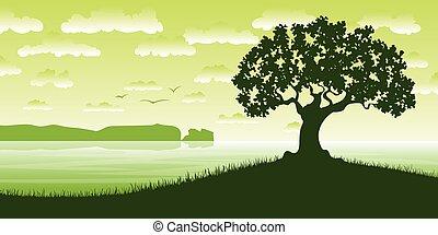 góry, krajobraz, tło, Drzewa, brzeg