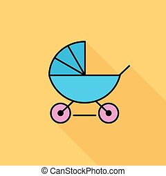 Pram flat icon - Pram icon Flat vector related icon with...