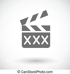 Adult movie clapper Single flat icon on white background...