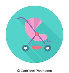 Pram flat icon - Pram icon. Flat vector related icon with...