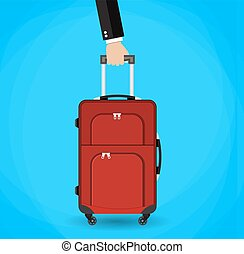 Hand holding red travel bag. vector illustration on blue...