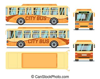 Urban, city bus in different view positions. Vector illustration