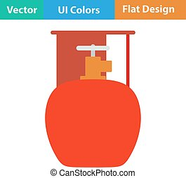 Icon of camping gas container - Flat design icon of camping...