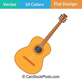 Flat design icon of acoustic guitar in ui colors Vector...