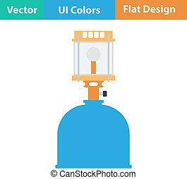 Icon of camping gas burner lamp - Flat design icon of...
