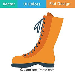 Flat design icon of hiking boot in ui colors Vector...