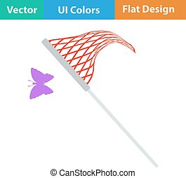 Flat design icon of butterfly net in ui colors. Vector...