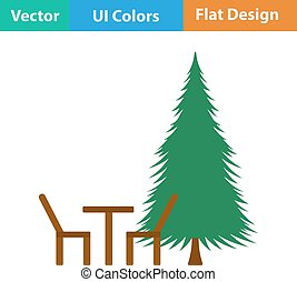 Icon of park seat and pine tre - Flat design icon of park...