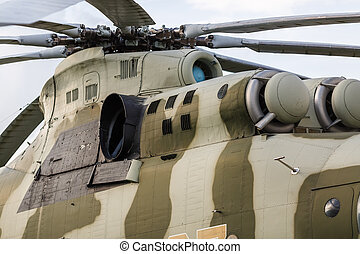Old military helicopter - Close-up of the old Soviet...