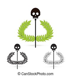 olive branch with skull symbol of greek god hades - isolate...