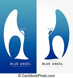 Blue angel - vector logo concept illustration. Human...