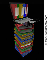 Colorful folders next to a laptop