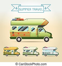 Travel Van .Summer vacation. Vector illustration.