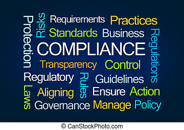 Compliance Word Cloud on Blue Background