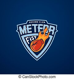 Meteor Fist Abstract Vector Sport Emblem or Logo Template....