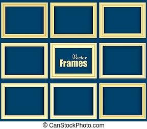 Set of golden realistic frames
