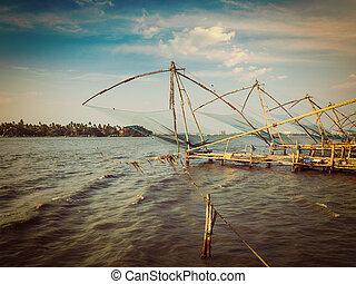 Chinese fishnets on sunset Kochi, Kerala, India - Vintage...