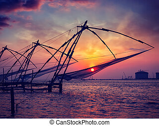 Chinese fishnets on sunset. Kochi, Kerala, India - Vintage...