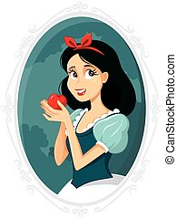 Snow White Holding Apple Vector Illustration.eps - Vector...