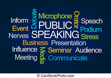 Public Speaking Word Cloud on Blue Background