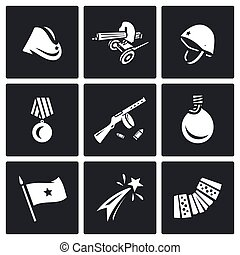 Vector Set of Victory Day in Russia Icons. Garrison cap,...