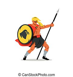 Vector Viking Warrior Cartoon Illustration.