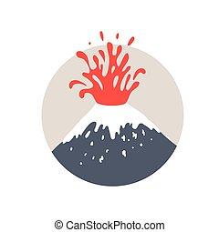Volcano eruption logo, vector illustration on white...