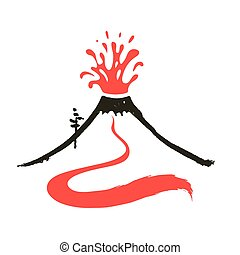 Volcano eruption logo, vector illustration on white...
