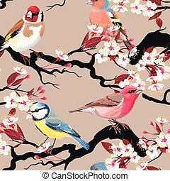 Seamless birds and blooming cherry - Birds and blooming...