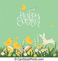 Spring greeting card. Phrase Happy Easter