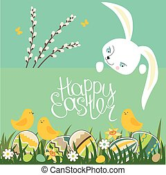 Spring greeting card Phrase Happy Easter Painted eggs,...