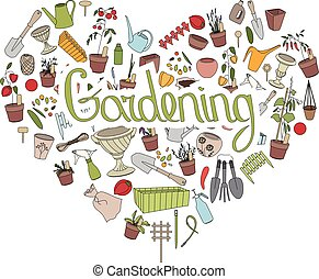 Gardening tools Text Gardening in heart shape Heart made of...