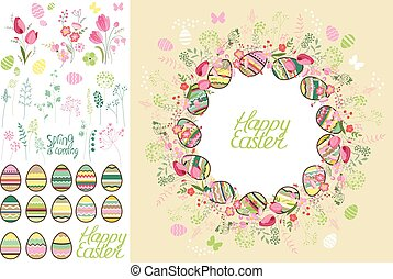 Spring greeting card Phrase Happy Easter Spring flowers,...