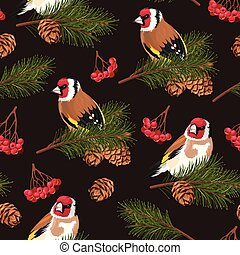 Seamless birds and spruce branches - Birds and spruce...