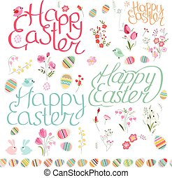 Easter spring set - Easter spring set. Phrase Happy Easter,...