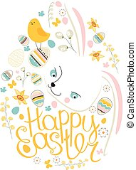 Spring symbol Phrase Happy Easter Painted eggs, white...