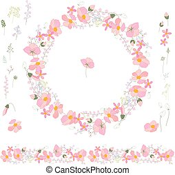 Floral spring elements with cute pastel flowers