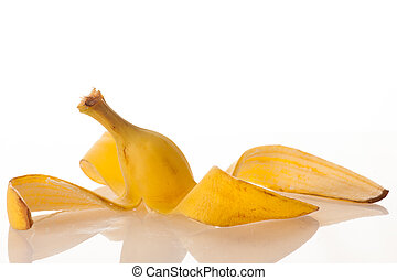 banana skin on a white background