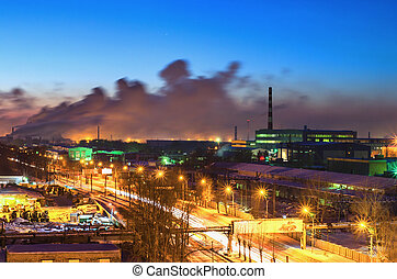 Night road in the industrial area of the city - Night...