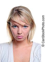 Blong woman sad expression