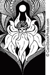 wizard with a long beard zentagl vector - black and white...