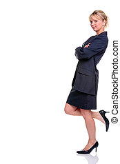 Blond businesswoman in suit leaning
