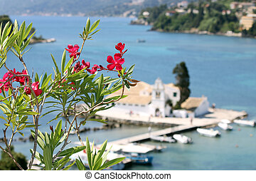 Vlacherna monastery Corfu island Greece summer season