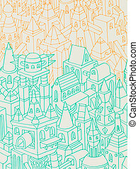 hand drawn buildings/houses