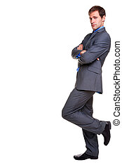 Buisnessman pinstripe suit leaning isolated