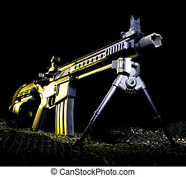 Yellow gun - Pistol version of a modern sporting rifle with...