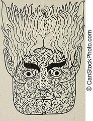 tinta, portrait/mask, Ilustración,