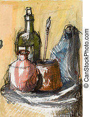water colour of still painting illustration - water colour...