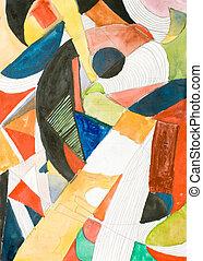 geometric abstract painting - illustration - illustration...