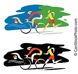 Triathlon race - Stylized Illustration of Three triathlon...